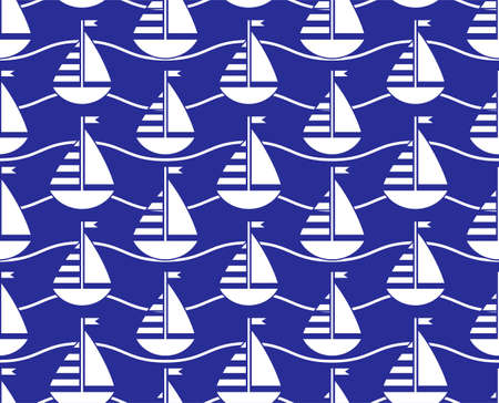 vector seamless texture with sailboats pattern on blue background