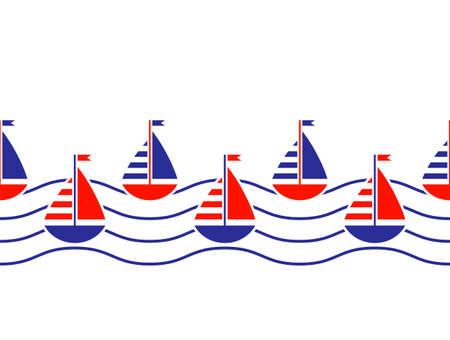 vector seamless border with sailboats and waves on white background 일러스트