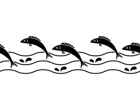 vector seamless border with jumping fishes and waves on white background 일러스트