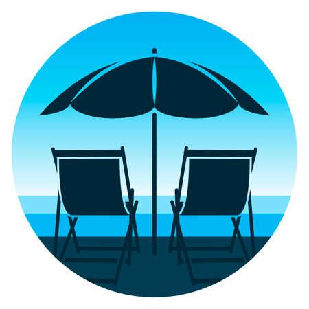 vector deck chairs under beach umbrella on the beach 일러스트