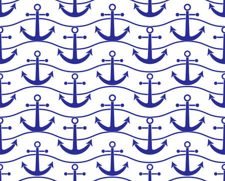 vector seamless texture with blue ship anchors pattern on white background
