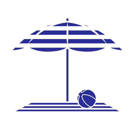vector beach towel and ball under beach umbrella isolated on white background
