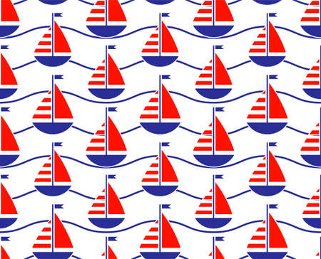 vector seamless texture with sailboats pattern on white background 일러스트
