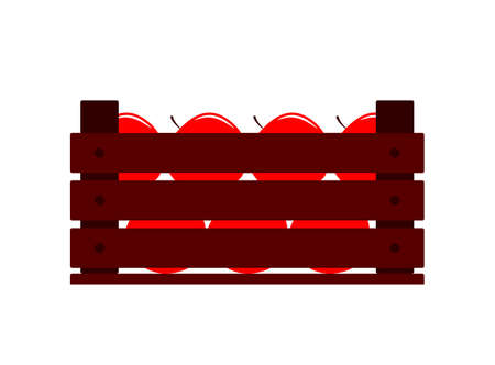 vector wooden crate of apples isolated on white background Ilustração