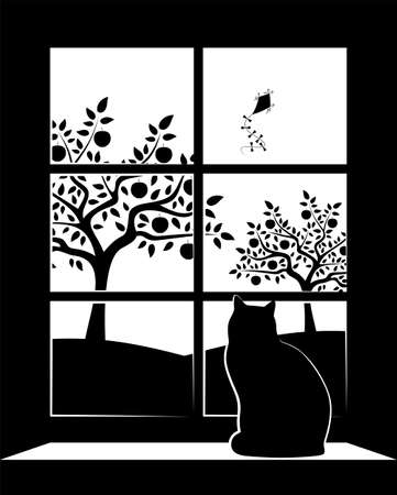 vector apple orchard and flying kite outside the window