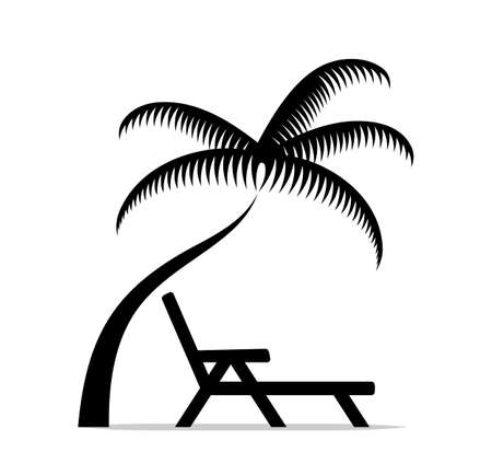 vector deck chair under palm tree isolated on white background