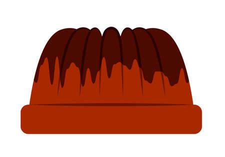 vector bundt cake with chocolate glaze isolated on white background