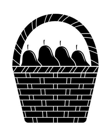 vector basket of pears isolated on white background Ilustração