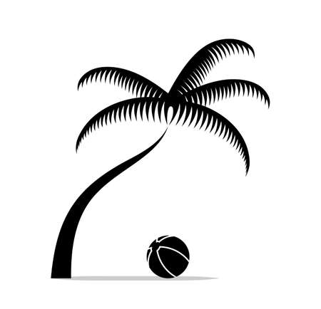 vector beach ball under palm tree isolated on white background