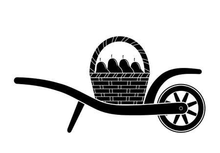 Vector wheel barrow and basket of pears isolated on white Ilustração