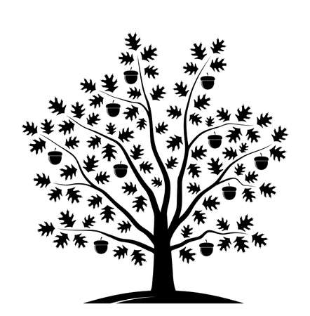 vector oak tree isolated on white background Ilustração