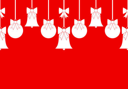vector seamless border with christmas balls and bells isolated on red background Ilustração