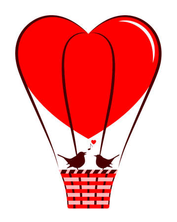 vector heart balloon and love birds isolated on white background