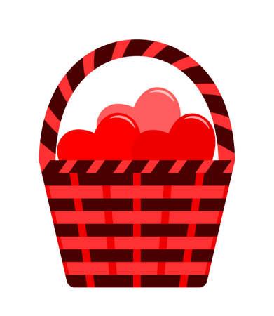 vector basket of hearts isolated on white background Ilustração