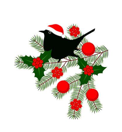 vector bird on christmas twig isolated on white background Ilustração