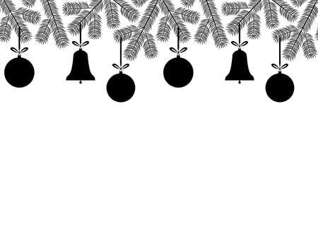 vector seamless border with christmas balls, bells and spruce twigs on white background