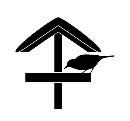 vector snowy bird table and bird silhouette isolated on white background