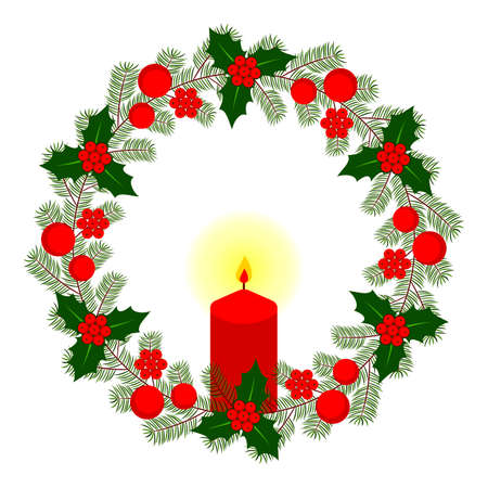 vector christmas wreath with candle isolated on white background Ilustração