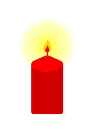 vector red candle isolated on white background Ilustração