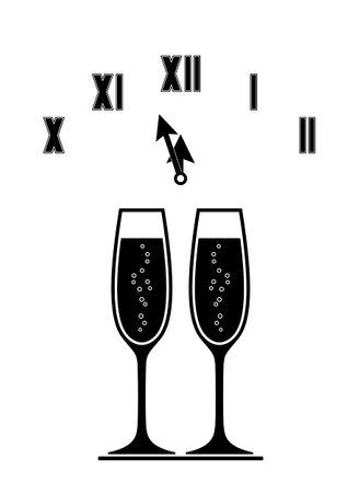 vector champagne glasses and clock isolated on white background Ilustração