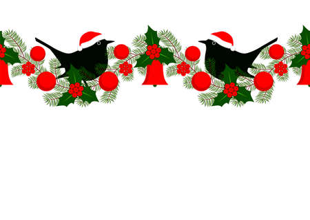 vector seamless christmas garland with santa birds on white background