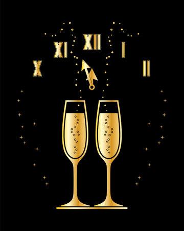 vector golden champagne glasses and clock on black background Ilustração
