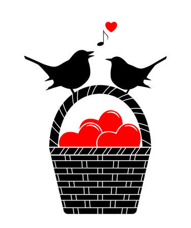 vector basket of hearts and love birds isolated on white background