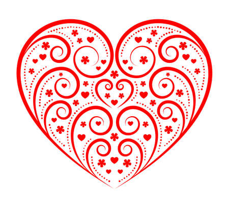 vector heart with floral pattern isolated on white background Ilustração