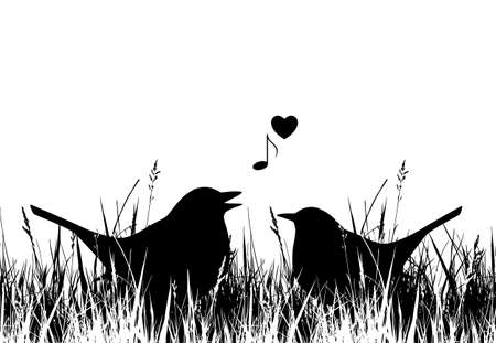 vector seamless love birds in grass border isolated on white background