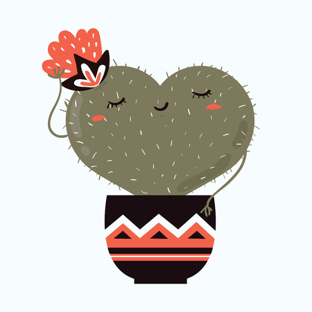 Vector illustration of cute cartoon cactus and flower with shape of heart in pot. can be used for Valentines day greeting cards, invitations, stickers