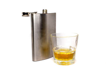 flask and glass tumbler isolated on a white background Stok Fotoğraf