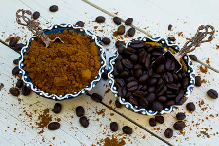 Coffee beans and grinded coffee