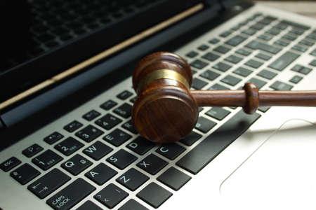 Judge gavel on a computer keyboard. Reklamní fotografie