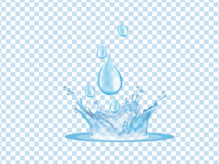 Transparent and beautiful splashes and drops of rainwater Illustration