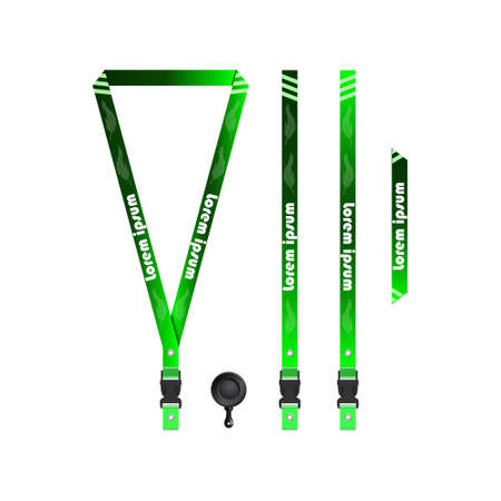 Green Feather Lanyard Template for All Companies