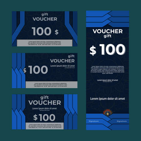 Gift voucher ,promotion card, Coupon, Premium, check with mandala template. Ilustración de vector