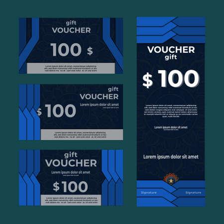 Gift voucher ,promotion card, Coupon, Premium, check with mandala template. Vektorové ilustrace
