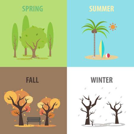 palmtrees: Vector works, Four seasons pack Illustration