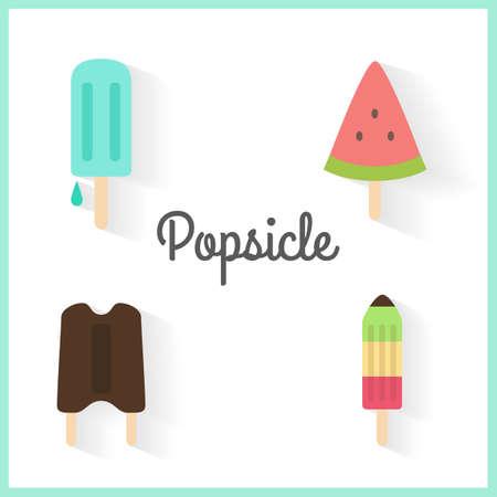 helados con palito: hielo conjunto de palo de crema Vectores