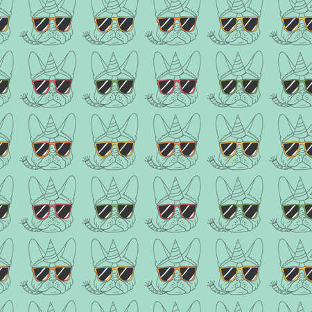 french bulldog: French Bulldog seamless pattern 2 Illustration