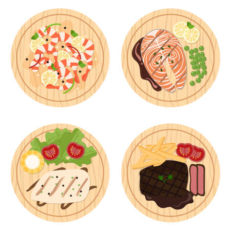 wooden board: Food set, Seafood and steaks on wood plates