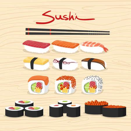 Sushi, Japanese food set Illustration