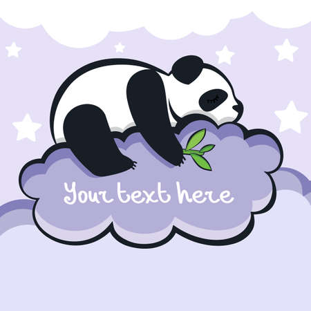 panda bear: panda bear sleeping on the cloud.