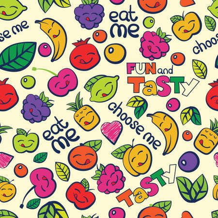 seamless colorful pattern, hand drawn berry and fruits.