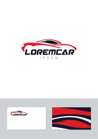 Car abstract lines vector logo design concept with business card template. Store, Repair services icon.
