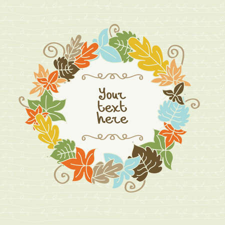 brown background: colorful autumn leaves with frame for text. Illustration
