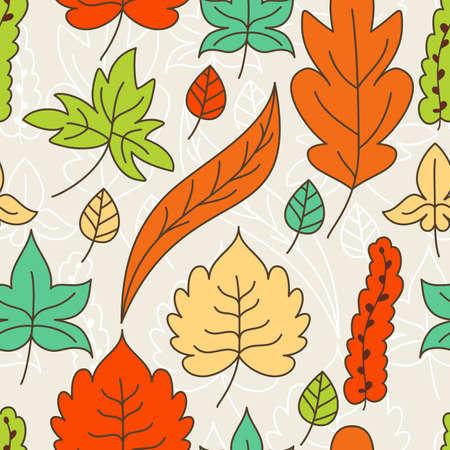 Autumn leaves seamless pattern. Vector illustration.  Vector