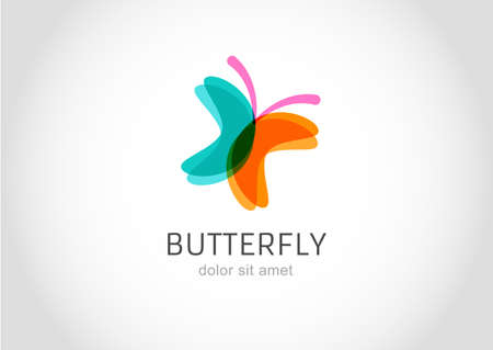 Butterfly abstract vector logo design template.