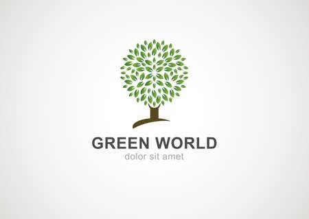 Green circle tree vector logo design template. Garden or ecology icon.  Illustration