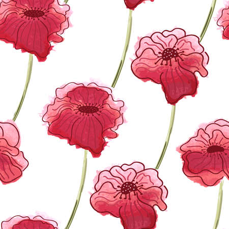 transparently: Red poppy flower. Vector watercolor seamless floral pattern background. Illustration